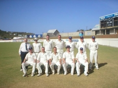 Smaller Team photo at Beajour Stadium. Late umpire Peter White (lurgan) also in photo.