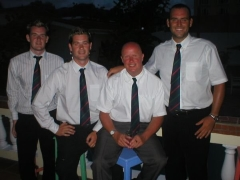 Keith Morrison, Ian Morrison, Michael Turkington & Neil Russell pre end of tour dinner in St Lucia 2005.