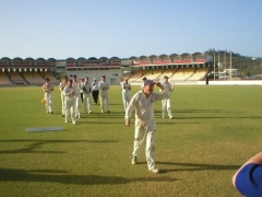 Paul Stafford walking off pitch after his 5'for at Beajour Stadium