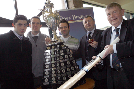 Representatives from Downpatrick, Saintfield, Dundrum and TCH Media join NCU President Ian Gourley for the cup draw