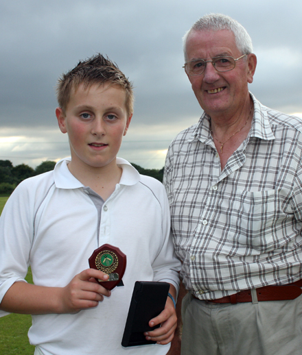 MOM Gary McClintock from Donemana receives his award from David Caldwell